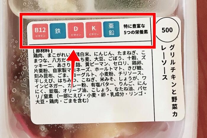 お弁当蓋にある栄養表示